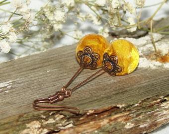 Resin Earrings Nature Flower Jewelry, Yellow Flower Art Earrings Floral Jewelry Gift, Bohemian Earrings Gift Resin Jewelry, Gifts For Women