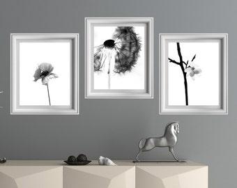 Set of 3 prints, set of 3 printable, black and white wall art, set of prints, minimalist decor,nature print,wall art printable, wall decor