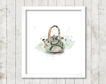 Displays large format / teapot green and gray / watercolor Style / wall Decoration, vintage