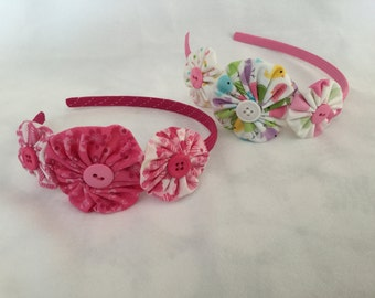 Adorable Pink Fabric YoYo Headband, Hairband  Suffolk Puff,  Yo Yo. Hair Band, Head Band, Little Girl, Novelty Print