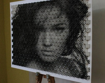 Portraits made of cubes! Double-sided portrait. Linework