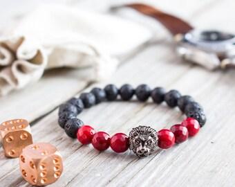 8mm - Black lava stone and faceted red coral beaded gunmetal black Lion head stretchy bracelet, mens bracelet, womens bracelet