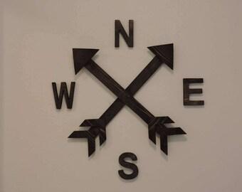 Wood Arrow Compass, Rustic Home Decor, Nursery Decor