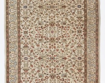 5x8.4 Ft  Muted Turkish Oushak Rug. Washed Out neutral Colors. Suitable for both office and home decor.  Y69