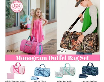 Monogram Duffel Bag Set/ Personalized overnight bags/ Monogram weekend bag/ Gym bag/ luggage/Kids duffel bag, Baby Shower gift, summer camp