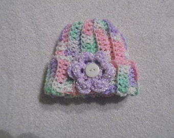 1 Infant Sm Hand Crocheted Multi Baby Colored with Purple Flower Baby Hat (HT 13)