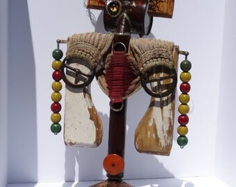 SHAMAN, antique found object sculpture, mixed media, contemporary art