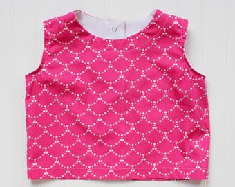 Pink Pearl Crop Top - girls top, tank top, pink shirt, birthday outfit, spring outfit, Easter top