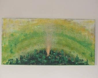 exceptional acrylic painting, green, tree, abstract