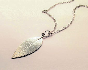 Handmade silver leaf pendant
