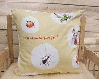 James and the giant peach pillow case, licenced fabric, Roald dahl, cotton pillow case, handmade, envelope, kids, bedroom, story, nursery