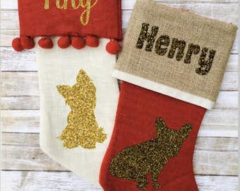 Personalized Dog Christmas Stocking - Pet Holiday Stocking - Custom Burlap Dog Stocking - Cat Stocking - Puppy Christmas Stocking