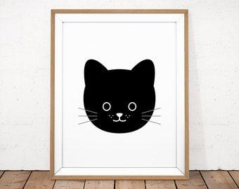 Cat Printable, Black Cat Poster, Black Kitty Print, Cat Nursery Print, Black Kitty Poster, Kawaii Printable, Kitten Print, Printable Nursery