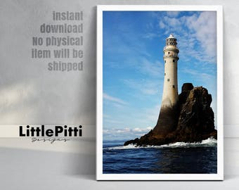 Lighthouse decor, lighthouse print, coastal, nautical, beach home decor, large printable poster, colour photo, digital download, lighthouse