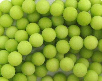"10mm frost jade round beads 15"" strand lemon green 33558"