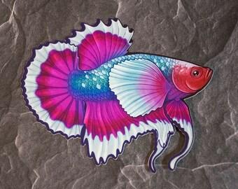 Vinyl Betta Decal - Betta Fish Sticker, 3 Sizes