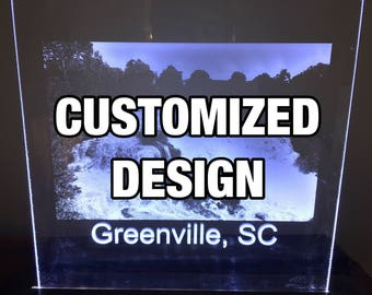 Custom Laser Engraved Photo LED Sign