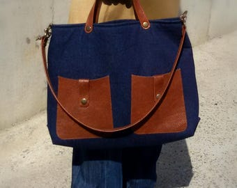 denim leather bag
