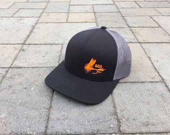 Area Code Art - 603 Area Code, Fly Fishing, New Hampshire,  Snapback Trucker Hat, Fly Lure, Fly Fishing Gift, Fly Fishing Gear