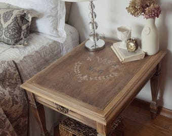 FREE SHIPPING | French Farmhouse Shabby Chic Painted Night Stand Side Table  End Table,