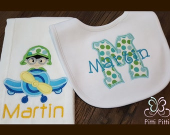 Baby Boy Personalized   SET Plane Burp Cloth  & Initial  with name -  / Newborn gift / Personalized Onesie or Shirt