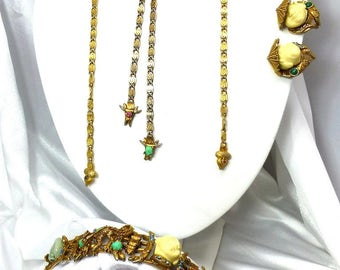 Rare Vintage HAR Laughing Chinaman (with Hats) Full Parure w/2 interchangeable Necklaces-Amazing! Bolo Necklace, Bracelet, Earrings