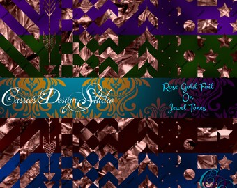 Rose Gold Foil on Jewel Tones Digital Paper