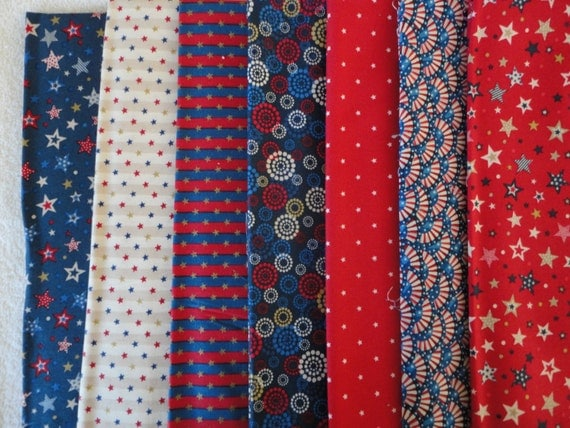 America Collection Patriotic Fabric Lot Seven Total Yards
