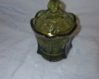 Fostoria Green Coin Pattern Candy Dish / Sugar Bowl
