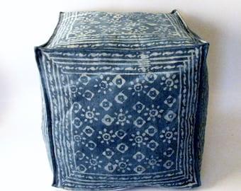 Denim blue Pouf cover,Floor Cushion Cover Indigo 18 inch cube,boho bohemian chic,ottoman cover,Toronto Canada,footstool,extra seating.