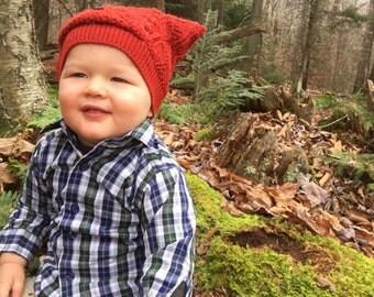 Upcycled Toddler Hat, Recycled Kitten Ear Knit Hat, Vintage Orange Leaf Knit