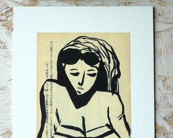 Drawing ink - Portrait woman in swimsuit - limited Digital Edition / signed / numbered