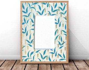 Pre-Cut Picture Frame Mat,Teal Leaf and Metallic Gold,Photo Frame Matting,Framing Mats,Decorative Frame Mat,Damask Design