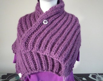 Purple hand knit collar with button closure, wool and alpaca blend