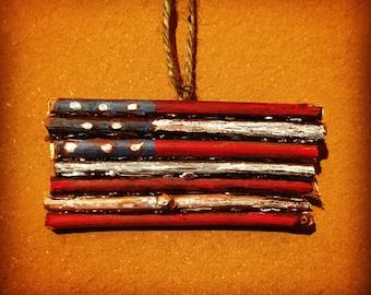 Grapevine American Flag Ornament