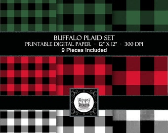 9 Digital Paper Backgrounds - Lumberjack Buffalo Plaid Set - Printable or Digital Paper - 3 Colours - Red White and Green #15