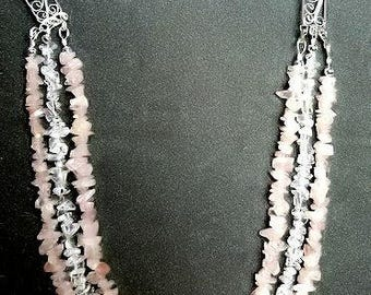 Rose Quartz and Rock Crystal Necklace