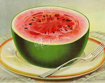seeds_catalogs-05356 - Watermelon, half, on plate, breakfast, fork, succulent fruit red sugary vintage printable illustration cover image
