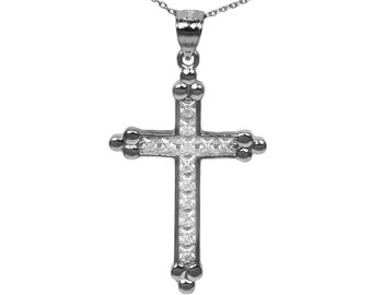 925 Black Sterling Silver Cubic Zirconia Cross Pendant