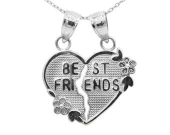 10k White Gold Best Friends Heart Necklace