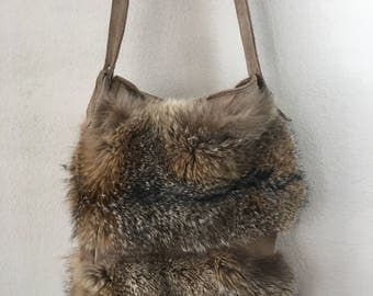 Really steep crossbody bag from real wolverine fur leather & suede unique handbag stylish bag handmade new collection brown has size-medium.