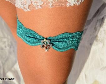 Teal Green Garter, Wedding Garters, Garter Set, Lace Garter, Bridal Garter, Wedding Garter Set, Rhinestone Garter, Color Garter, Teal Garter