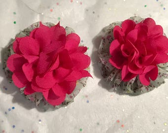 Pink floral print flower clips