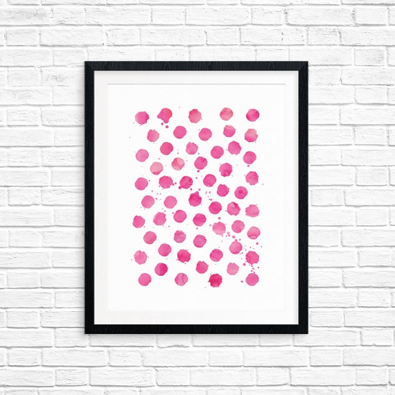 Printable Art, Pink Watercolor Polka Dot, Pattern, Modern Art, Minimalist Art, Art Printable, Home Decor, Digital Download Print
