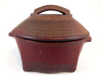 Handmade Stoneware Lidded Casserole Brick Red