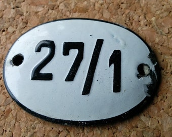 Small Vintage Enamel number 27 January , Locker,  Birthday , Box