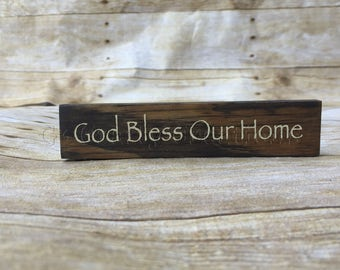 God Bless Our Home small wood block, wood block, wood decor