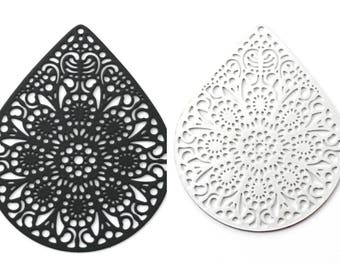 Print / pendant filigree (components) large drop style mandala, ethnic 39 x 49 mm (black or silver)