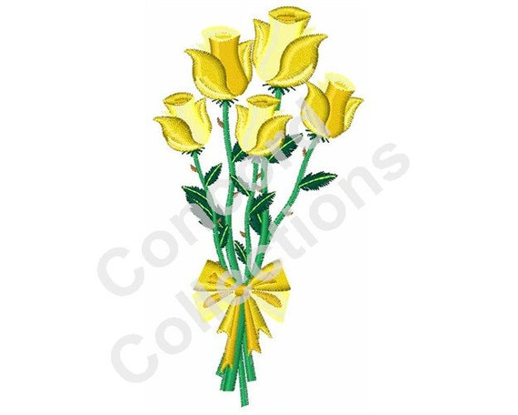 Yellow roses machine embroidery design from