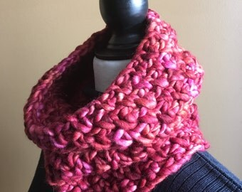 Red Scarf, Wool Scarf, Pink Cowl, Cowl Neck,  Red Cowl, Mens Scarf, Women Cowlneck